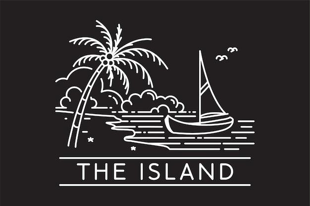 Barca a vela su un'isola tropicale della spiaggia