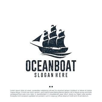 Barca a vela, vintage, ispirazione per il design del logo