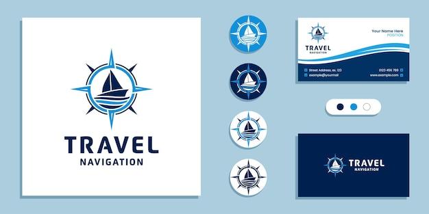 Barca a vela con segno della bussola. logo di navigazione marittima di viaggio e modello di progettazione del biglietto da visita