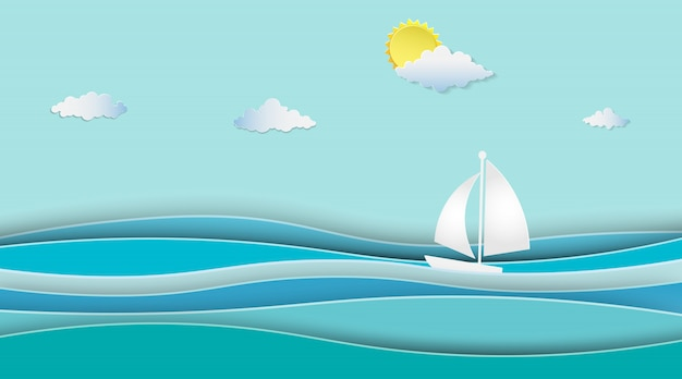 Le barche a vela sull'oceano abbelliscono con soleggiato.