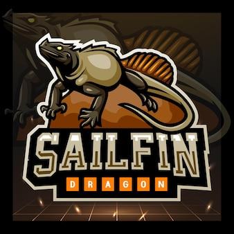 Design del logo esport della mascotte del drago sailfin