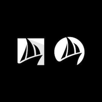 Collezione di design del logo della barca a vela