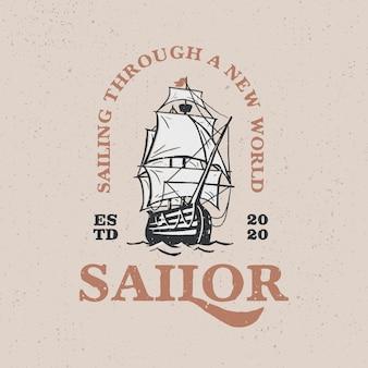 Illustrazione dell'icona di logo vintage barca a vela