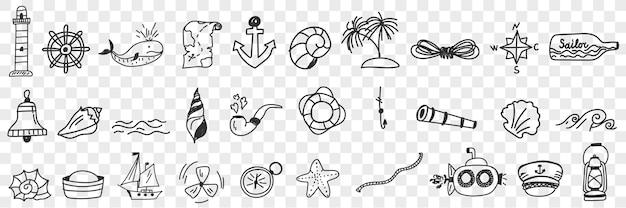 Insieme di doodle di attrezzature nautiche e vela.
