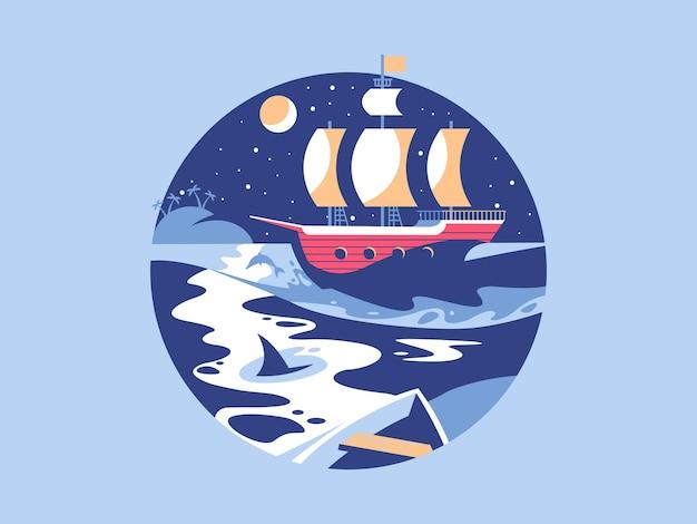 Navigando in mare. barca a vela sull'onda dell'oceano, viaggi in yacht, illustrazione