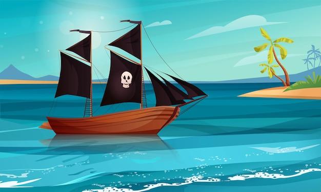 Cartone animato di nave a vela.