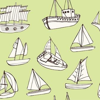 Modello senza cuciture di doodle disegnato a mano di nave a vela