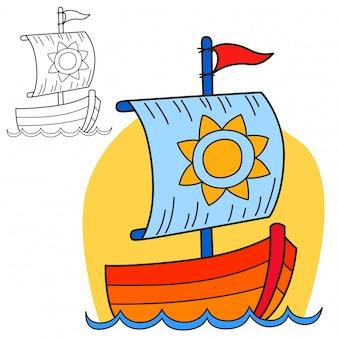 Barca a vela. pagina del libro da colorare