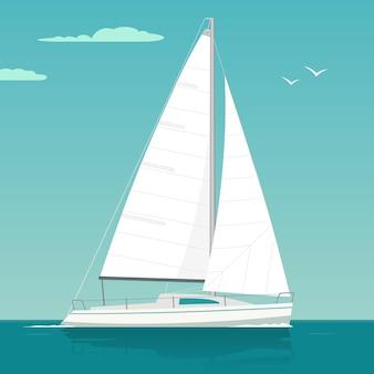 Yacht a vela sulle onde del mare. barca a vela. illustrazione piana disegnata di vettore. isolato su sfondo bianco.
