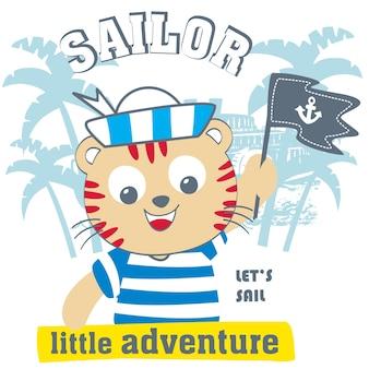 Vettore di cartone animato gatto marinaio
