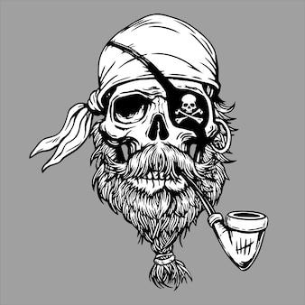 Marinaio capitano di mare testa teschio roger con pipa, bandana e barba. illustrazione