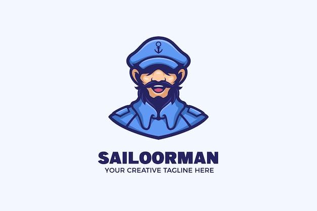 Il modello di logo della mascotte dei cartoni animati nautici sailorman