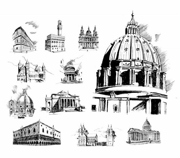 Illustrazione di cattedrale di san basilio. set di architettura di storia