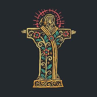 Illustrazione disegnata a mano di saint francis spiritual religion