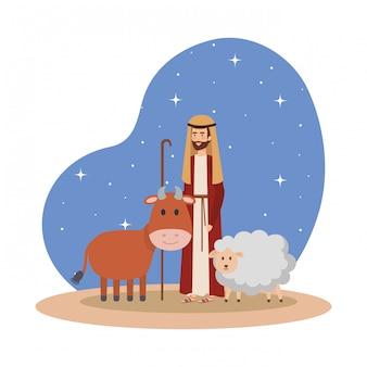 San giuseppe con bue e pecore nella notte