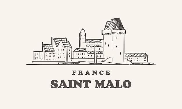 Disegno dell'illustrazione dell'orizzonte di saint malo