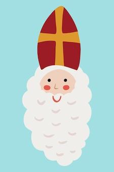 Saint nicholas sinterklaas dutch santa old man face barba in mitra rossa con ritratto a croce