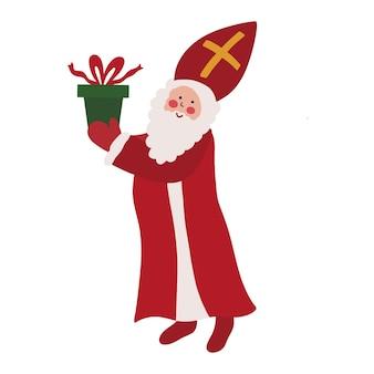 San nicola sinterklaas babbo natale olandese vecchio con barba in mantello rosso e mitra con regalo