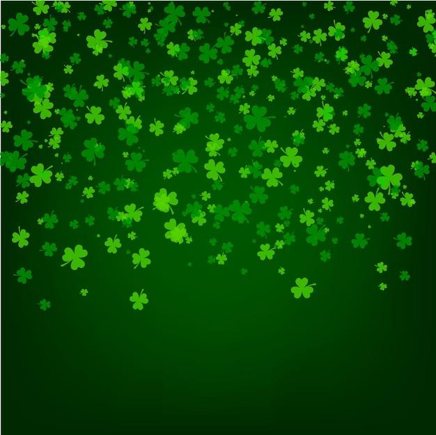 Sfondo di giorno di san patrizio con foglie verdi di trifoglio trifoglio