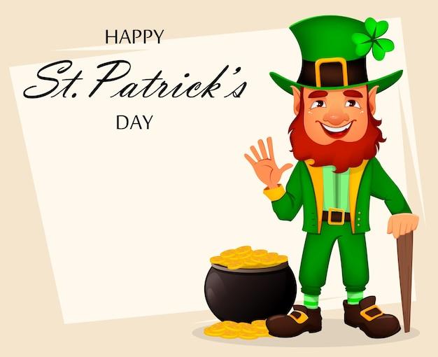 Giorno di san patrizio. personaggio dei cartoni animati leprechaun Vettore Premium