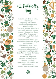Cornice di giorno di san patrizio con leprechaun, trifoglio isolato su priorità bassa bianca. banner o invito a tema vacanza irlandese con posto per testo. modello di carta carino primavera.