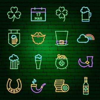 Icone al neon del giorno di san patrizio. illustrazione vettoriale di promozione delle vacanze.