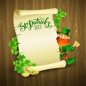 Illustrazione di giorno di san patrizio con leprechaun
