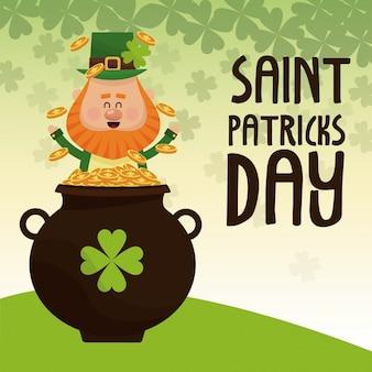 Leprechaun di saint patricks day felice sballottando manifesto dell'iscrizione pentola d'oro