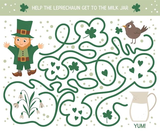 Labirinto di san patrizio per bambini. attività di vacanza irlandese prescolare. gioco di puzzle di primavera con elfo carino, uccello, fiore. aiuta il leprechaun ad arrivare al barattolo del latte.