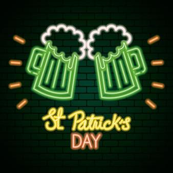 Luce al neon di giorno di san patrizio con illustrazione di birre