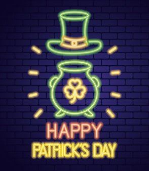 Luce al neon del giorno di san patrizio con cappello e trifoglio del leprechaun nell'illustrazione del calderone