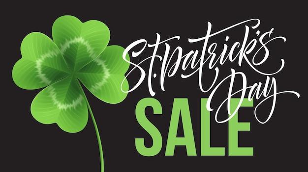 Manifesto di vendita di saint patricks day. lettering modello di banner tipografia. illustrazione