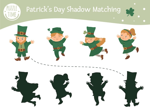 Attività di abbinamento delle ombre per il giorno di san patrizio per bambini. puzzle di vacanza irlandese prescolare. indovinello educativo primavera carino. trova il gioco di silhouette corretto.