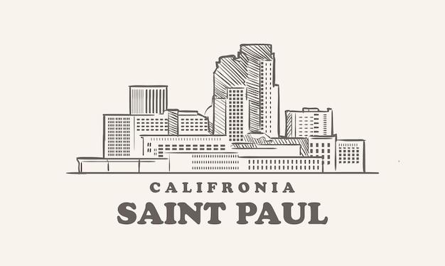 Schizzo disegnato di saint paul skyline california