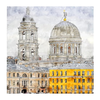 Illustrazione disegnata a mano di schizzo dell'acquerello di san pietroburgo russia