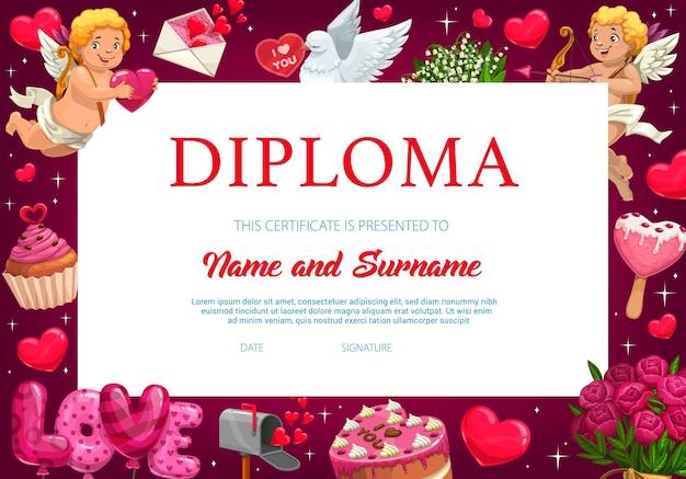 Diploma di scuola materna del bambino di san valentino