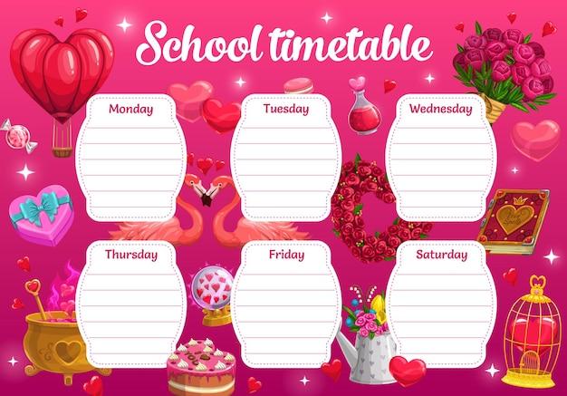 Orario scolastico di san valentino con regali romantici e pozioni d'amore