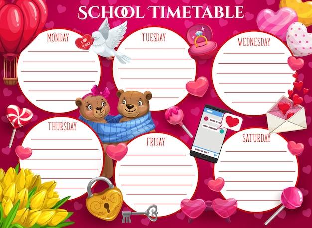 Modello di orario scolastico per bambini di festa di san valentino