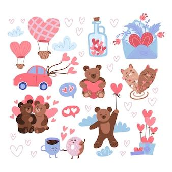 Set di adesivi di san valentino. festa delle etichette di san valentino, icone felici del 14 febbraio con simpatici orsacchiotti, barattolo di cuori, mongolfiere, lettera d'amore.