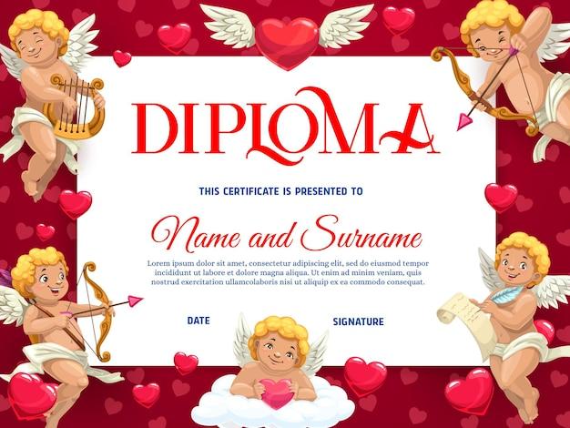 Modello di diploma per bambini di san valentino con personaggi di cherubini