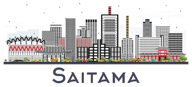 Orizzonte della città di saitama giappone con edifici di colore. viaggi d'affari e concetto di turismo con architettura moderna. paesaggio urbano di saitama con punti di riferimento.