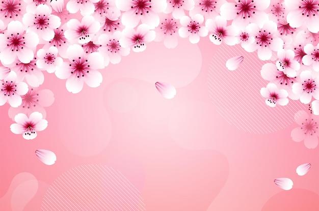 Sakura petali che cadono vettore su sfondo rosa banner