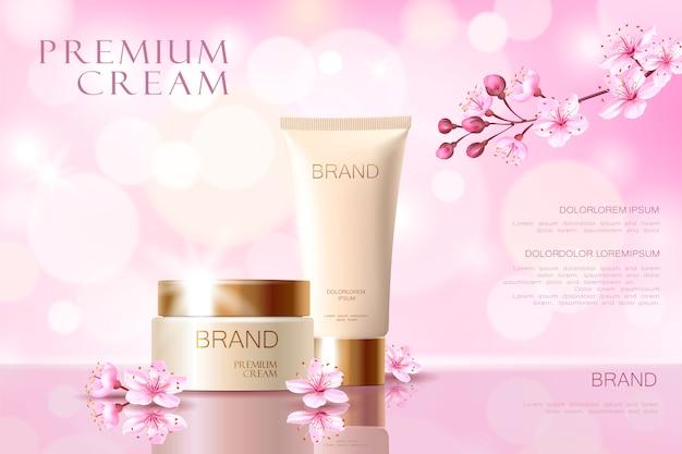 Modello di poster promozionale cosmetico fiore sakura. fiore di petalo rosa giapponese