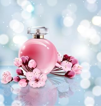 Il profumo sakura annuncia un profumo in stile realistico in una bottiglia di vetro su sfondo blu sfocato con bokeh