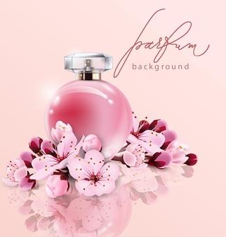 Il profumo sakura pubblicizza un profumo in stile realistico in una bottiglia di vetro su sfondo rosa con fiori di sakura