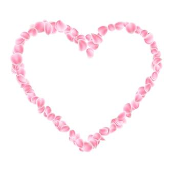 Cornice circolare petali di sakura su sfondo trasparente.