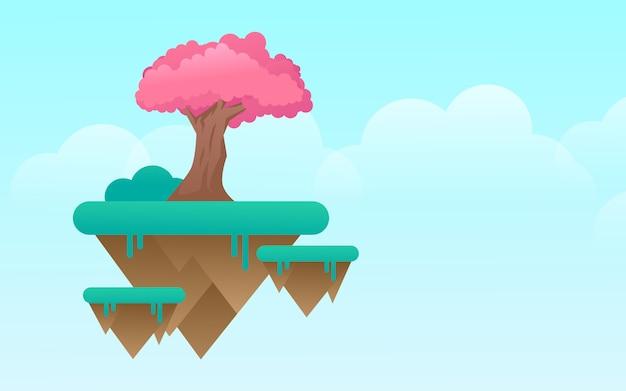 L'albero di sakura sopra la progettazione di vettore del modello dell'insegna del sito web del pianeta dell'isola del cielo di volo di fantasia progetta