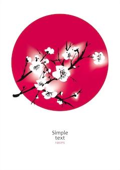 Albero di sakura nel cerchio rosso