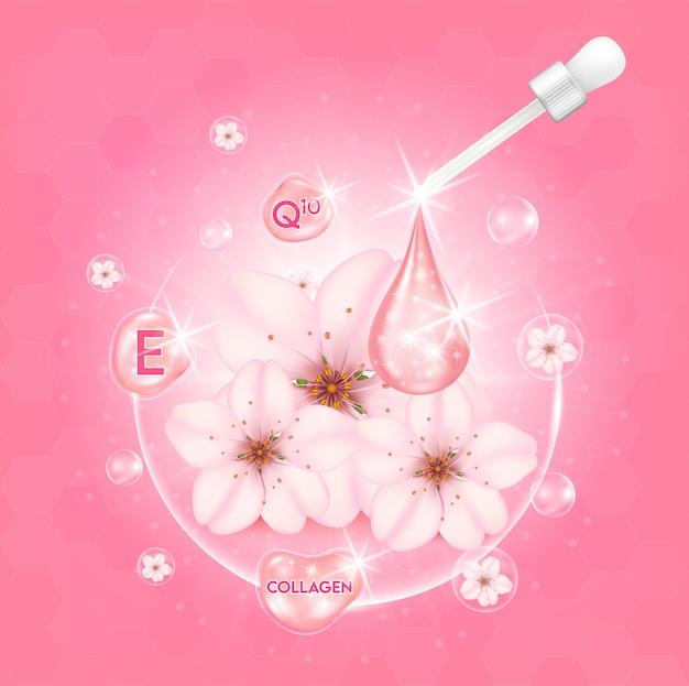 Siero sbiancante sakura per la cura della pelle goccia di vitamina e collagene ai fiori di ciliegio