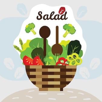Cestino di insalata con un sacco di verdure fresche biologiche